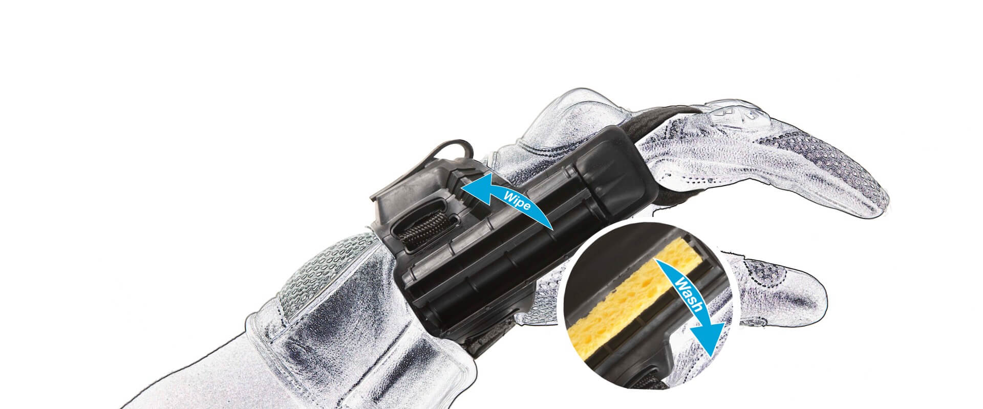 Visorcat - glove-mounted visor-cleaning device allows bikers to wash wipe as you ride in one easy move